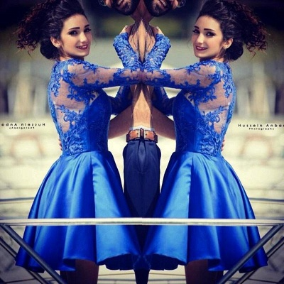 Cute Royal Blue Long Sleeve Homecoming Dress A-Line Lace Short Cocktail Dresses_6