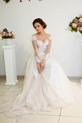 A-Line Long Sleeve Lace Applique Bridal Gowns Elegant Tulle Long Wedding Dresses BA5209_3