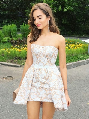 Sexy Strapless Mini Homecoming Dresses   | Sleeveless Lace Short Hoco Dresses_1
