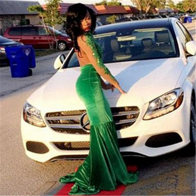 Long Sleeve Velvet Green Evening Gown Sexy Court Train Prom Party Dress DN011_2