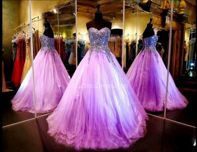 Tulle Sequined Shiny Prom Dresses Sweetheart Sleeveless Floor Length  Popular Quinceanera Dress_2