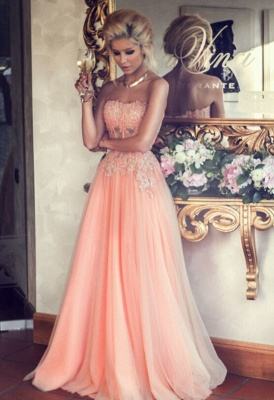 Applique Chiffon Sweetheart Evening Dresses Floor Length Tiered Strapless Prom Gowns_1