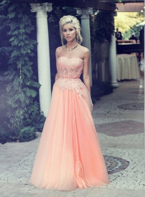 Applique Chiffon Sweetheart Evening Dresses Floor Length Tiered Strapless Prom Gowns_4
