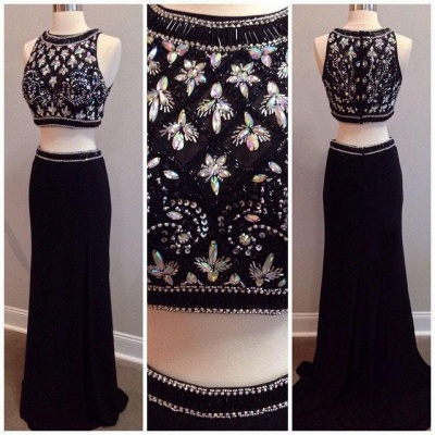 New Arrival Black Two Piece Beading Prom Dress Elegant Floor Length Evening Gown_3